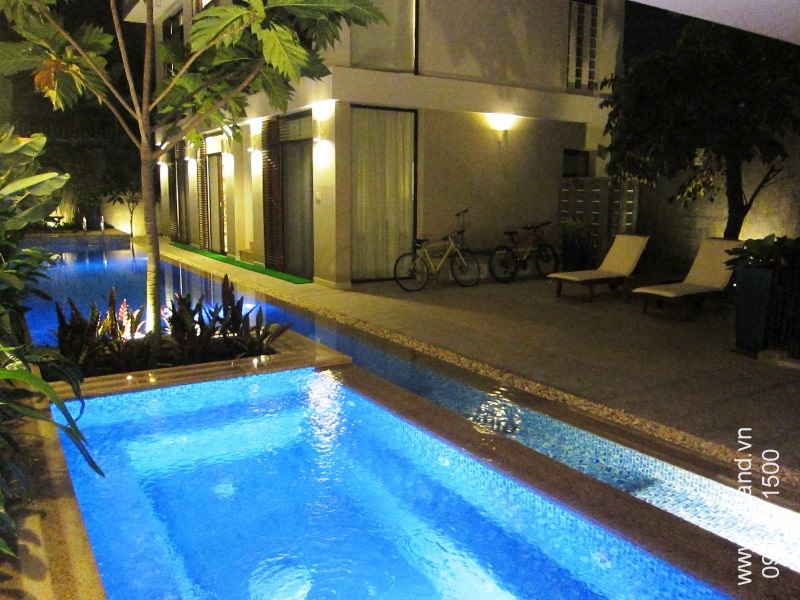 villa-for-rent-in-hcm-Pool at night 249